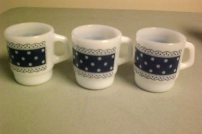 Set of 3 Anchor Hocking Fire King Blue Polka Dot Lace Cups Mugs