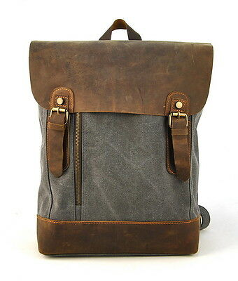Men Women Canvas Vintage Genuine Leather Backpack School Book Bag Travel Black