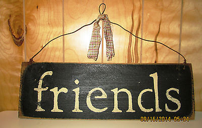"""Rustic/Primitive Handmade Wood Sign """"friends"""" : Country Decor Home/Cabin"""