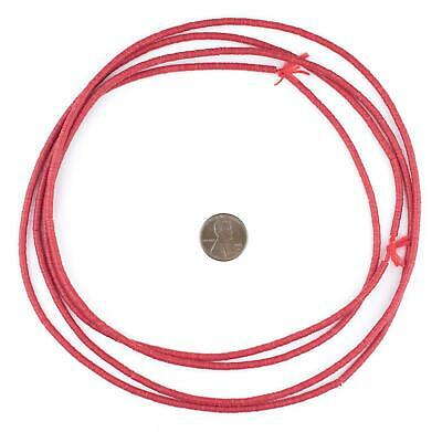 African Cranberry Red Vinyl Phono Record Beads (3mm) Ghana