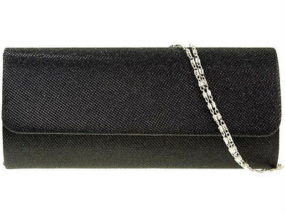 New Black Glitter Evening Clutch Bag Shoulder Xmas Party Wedding Prom Club