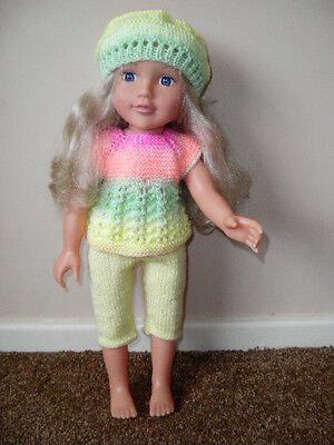 Hand knitted dolls clothes to fit Designafriend/American Girl doll