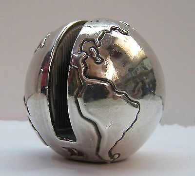 Sterling Silver Planet Earth Card Holder