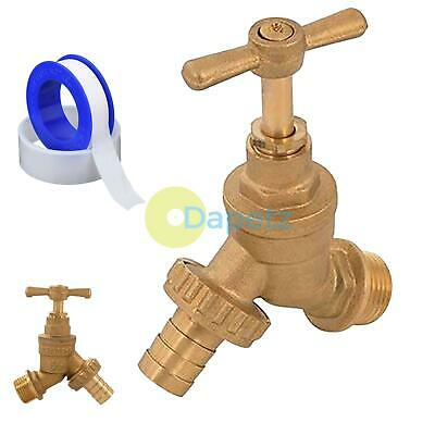 Outside Garden Hose Union Brass Bibtap Tap With 15mm Wingback Elbow & PTFE Tape