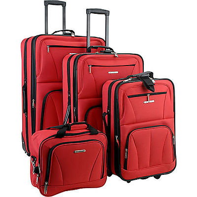 Rockland Luggage Deluxe 4 Piece Luggage Set - Red