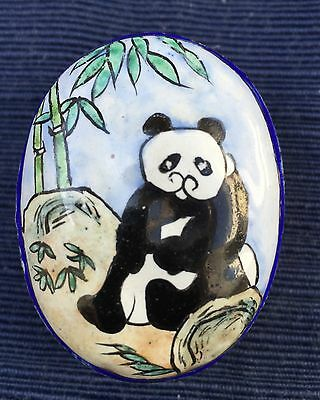 Antique hand-painted enameled brass pill box with panda design from China