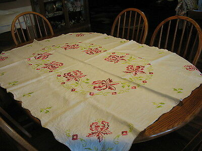 Hand Embroidery Cross Stitch LARGE Floral Blooms on Linen Tablecloth 48 x 64