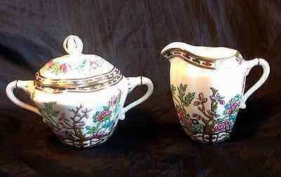 Vintage Coalport Indian Tree Bone China Made in England Sugar Creamer Scalloped