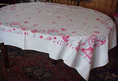 Beautiful Vintage Large Colorful 30's-40'sTablecloth