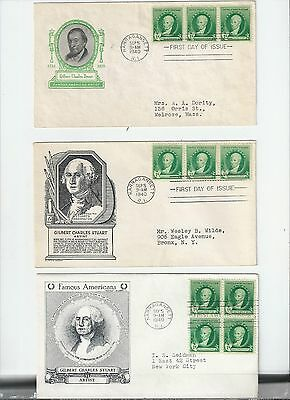 US FDC FIRST DAY COVER FAMOUS AMERICANS # 884 STUART 1940 LOT OF 5