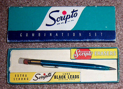 Vintage Scripto Mechanical Pencil in Original Box with Erasers and Lead