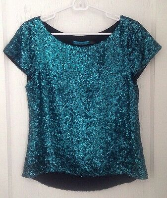 Alice And Olivia Sequin Yuki Teal Top Blouse M