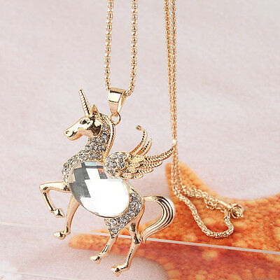 "14k Gold Filled 30"" Dress Chain Pendant White Sapphire Horse Necklace JD1959"