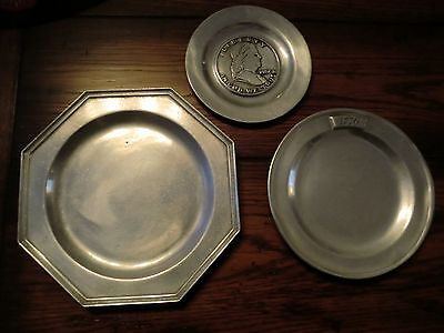 Set of three Pewter Plates Vintage Reproductions Wilton- Columbia, PA Metal