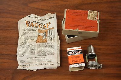 "Antique Steam Or Hot Water Radiator Cap - Perkins "" Vac Cap "" Nos In Box!"