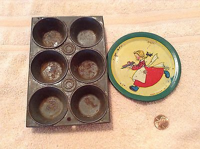 ANTIQUE TOY  MUFFIN PAN & CHILDS DECORATED TIN PLATE