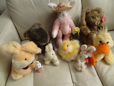 New Lot of 9 Vtge Easter Bunny Collection and Stuffed Plush Animal Toys Quality