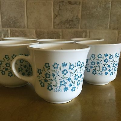 Set of 6 Vintage Blue Heather Corelle Tea Cups, Mugs, White and Blue