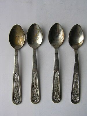 Set Of 4 Vintage Silver Plated Russian Tea Coffee Spoons
