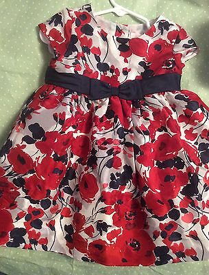 Janie and Jack EUC Holiday Traditions Rose Floral Silk Duppioni Dress (12-18 mos