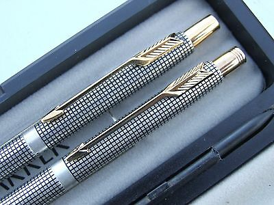 Classic Parker 75 Cisele Sterling Silver Gold Ball Pen Pencil 0.5 mm lead Boxed
