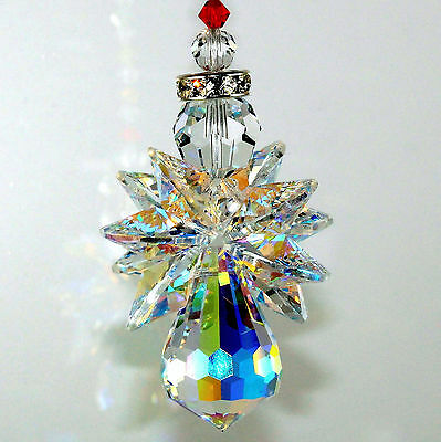 mw Swarovski Crystal RARE AB BODY - 10 AB Wings & Chakra Strand Angel Suncatcher
