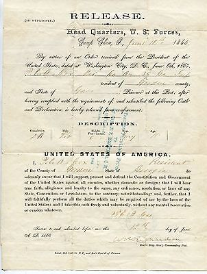 Civil War. CSA Soldier's Release from Camp Chase Prison & Loyalty Oath.