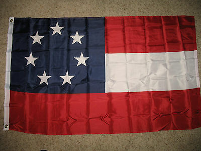 CSA 7 States Confederate First National Battle Stars and Bars 3x5 foot Flag