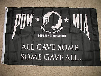 PowMia Pow Mia All Gave Some Some Gave All Flag 3x5 3'x5' Banner (150 Denier)