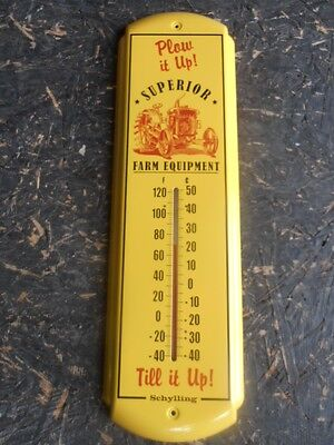 """OUTDOOR TIN SCHYLLING THERMOMETER 17""""X5"""" FARM TRACTOR VINTAGE STYLE TIN LITHO"""
