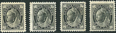 4 Different Minor RE-ENTRIES on F+ Unused NG 1/2¢ Black QV Maple Leaf #66