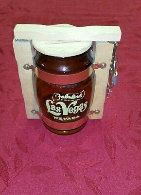 wood & Glass Coin Bank Fabulous Las Vegas barrel with lock and key