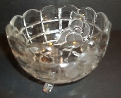 vintage etched cut glass footed candy nut dish flower design scalloped top