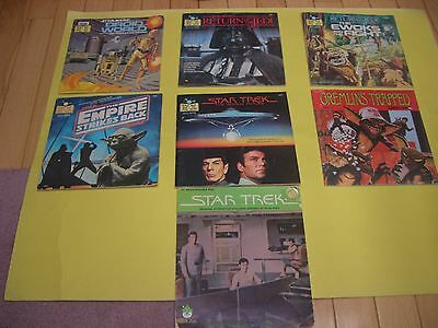 LOT OF 7 READ ALONG RECORD BOOKS  STAR WARS, STAR TREK AND GREMLINS