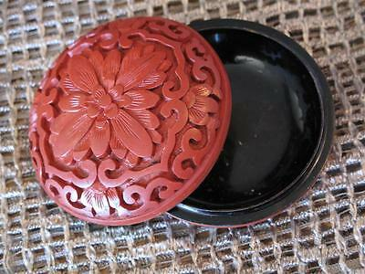 Old Chinese Carved Cinnabar Make-up Compact… beautiful red colour...