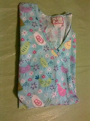 CUTE FOR EASTER LADIES PEACHES IZZY SCRUB TOP WITH BIRDS (XS)