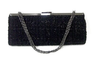 PRIVILEGE ,NEW,50 %OFF,BLACK TWEED CLUTCH WITH PEWTER FRAME AND ADJUSTABLE STRAP