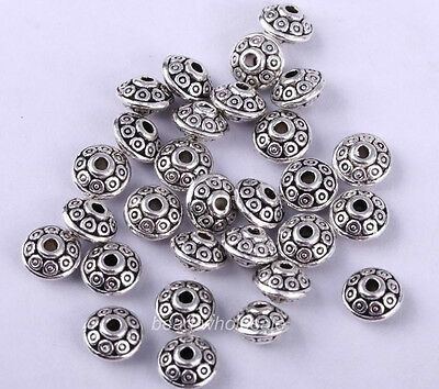 40pcs Antique Silver Color UFO Shape Carved Spacer Beads 7x5mm For Jewelry