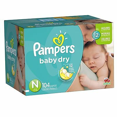 NEW Pampers Baby Dry Diapers Size N Super Pack 104 Count Free Ship!