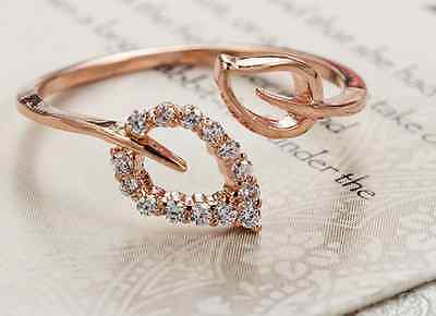 Free Shipping! Womens 9K Rose Gold Filled & AAA CZ Leaves Shape Ring Gift I41-b