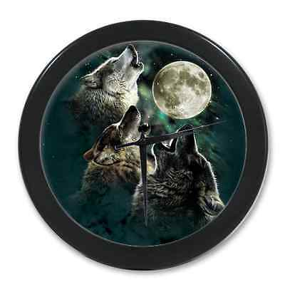 Home Decor Unique Wolf Howls to the Moon Digital Quartz Wall Clock 9.65 Inch