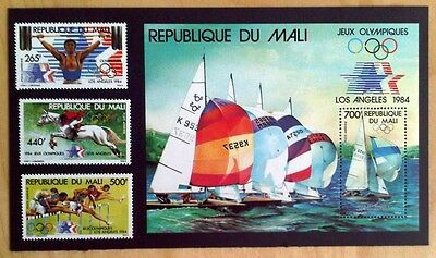 Mali 1984 'LA Olympics' 3 Stamp Set AND Miniature Sheet MINT