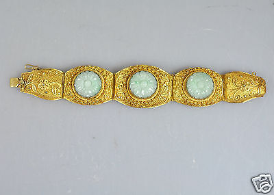 Antique Chinese Export Gilt Silver Jade Bracelet Filigree Jewellery China 1900