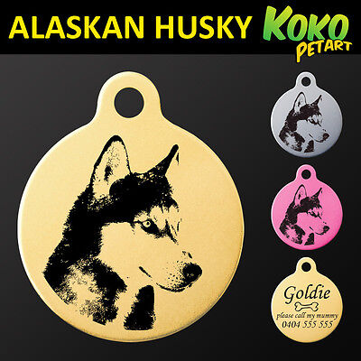 Alaskan Husky Sled Dog Round Pet Puppy ID Tag Personalised Engraved Aluminium