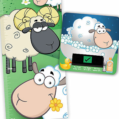 Counting Sheep Height Chart & Sheep Bath Thermometer Set