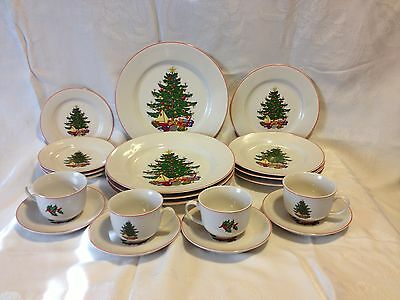 Cuthbertson American Christmas Tree 20 Piece Set Dishes Red Rim