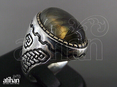925 STERLING SILVER MEN'S AGATE RING US SIZE 8 TO 11.5 TURKISH HANDWORK (04777)