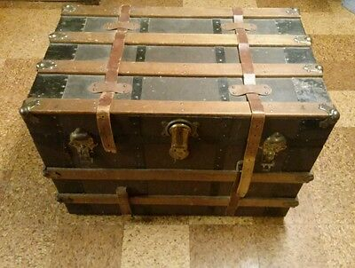 Antique Headley & Farmer Flat Top Steamer Trunk WITH TRAY!! NICE!!