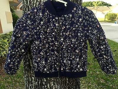 Baby Gap Toddler Girls Blue Floral Quilted Zip Up Jacket Coat Size 5 Toddlers