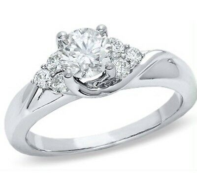 14 K White Gold With Real Diamonds Engagement Ring 1 Ct Total, Size 6.5